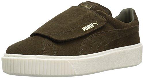 PUMA womens Suede Platform Strap Wn Sneaker, Olive Night-olive Night Marshmallow, 9.5 US