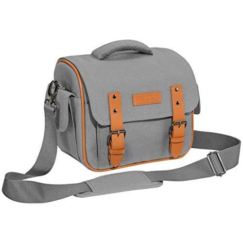 """PEDEA DSLR-Kameratasche \""""Vintage\"""" Fototasche für Spiegelreflexkameras mit wasserdichtem Regenschutz, Tragegurt und Zubehörfächern, Gr. XL grau"""