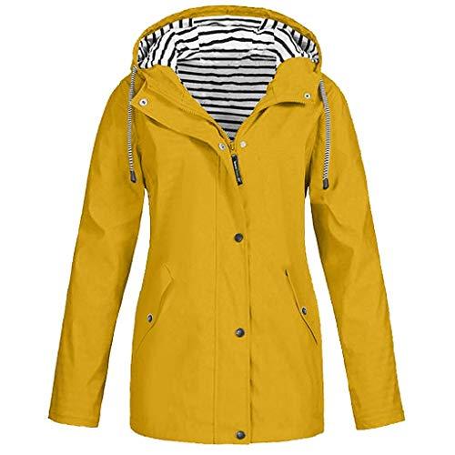 SHOBDW Liquidación Venta Abrigos Mujer Invierno Largos 2019 Moda Informal Outdoor Abrigo Parka Capucha Impermeable Rompevientos Mujer Cremallera Bolsillo Chaqueta Mujer Talla Grande(Amarillo,M)