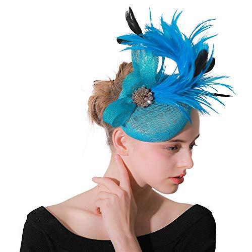 YIJIAHUI Fascinator Pillbox Hüte für Frauen Damen Cocktailparty Veil Tea Party Headwear mit Haarspange und Haarband für Damen oder Mädchen für Cocktailhochzeit (Color : Blue, Size : Free Size)