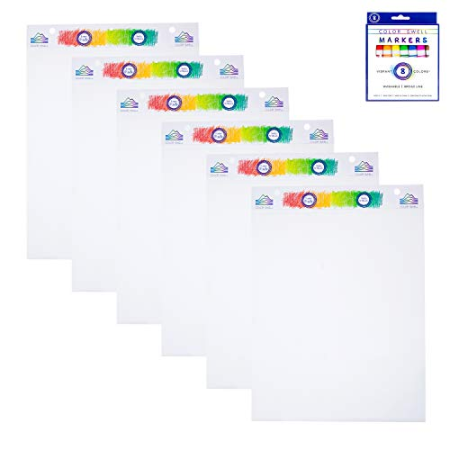 Color Swell 6 Pack 30 Sheets Each of Sticky Easel Pads Plus a Bonus Pack of Washable Markers, Great for The Office, Classroom, Groups, Presentations, Meetings, and Brainstorming