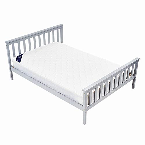 Storeinuk 3FT/4FT6 Grey Solid Pine Wood Platform Bedstead,Wooden Frame For Adults, Kids, Teenagers (4FT Double Bed)