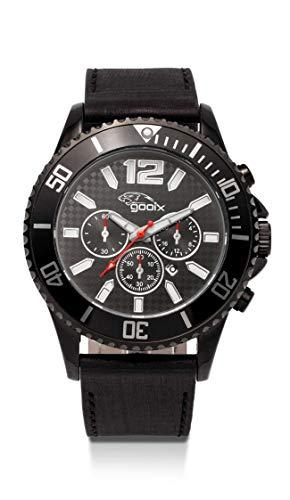 gooix GX0600500B Uhr Herrenuhr Lederarmband Edelstahl 10 bar Analog Datum Schwarz