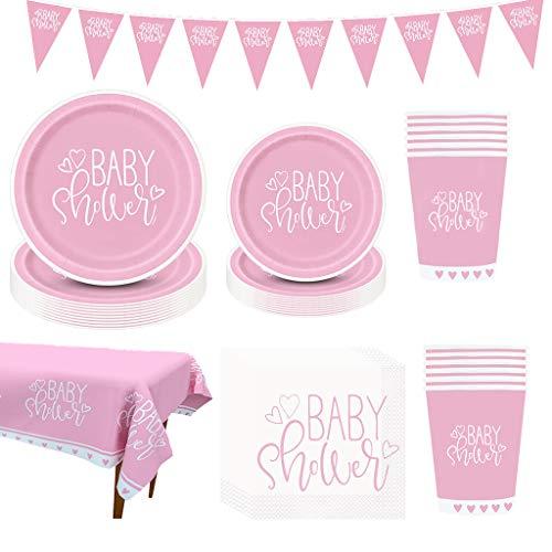 Amycute Baby Shower Girl Decorazioni Kit, Rosa Baby Shower Piatti Bicchieri Tovaglioli Tovaglia, Stoviglie per Baby Shower Gender Reveal Ragazza