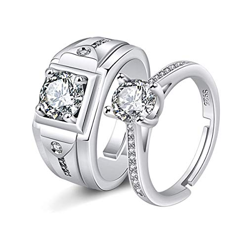 Uloveido Mens Square Wedding Bands and Women's Simulated Diamond Solitaire Engagement Rings His and Hers Promise Rings Set for Couples Y847-Silver