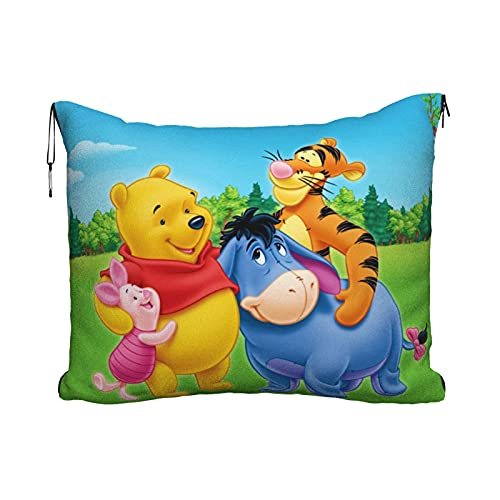 Anime Cartoon winnie pooh Travel almohada manta portátil viaje 2 en 1 manta de avión mantas super suave acogedor