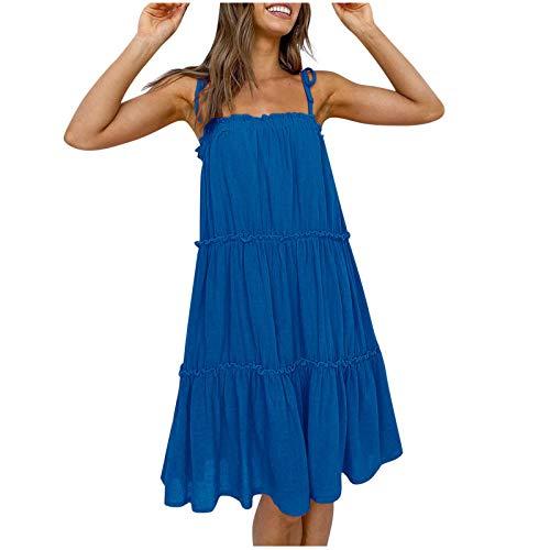 YHIIen Vestido de mujer sin mangas, vestido de verano, bohemio, minivestido, vestido floral, sexy, vestido profundo, suelto, informal, swing con fruncido, favorecedor. C-azul. XL