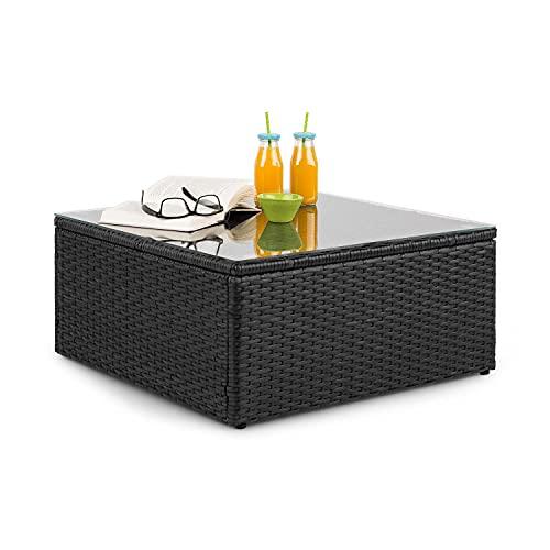 Blumfeldt Theia Loungetisch - Tavolo da Giardino, Tavolino da Lounge, Poly Rattan, Piano in Vetro, Nero Opaco