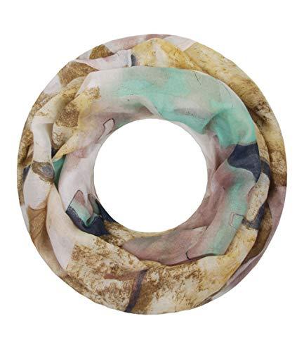Majea NEUE Kollektion Damen Loop Schal viele Farben Muster Schlauchschal Halstuch in aktuellen Trendfarben (gelb 21)