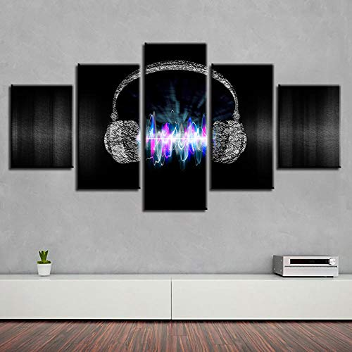 BDFDF Cuadro En Lienzo 5 Pieza Pintura En Lienzo Música De Auriculares Arte De La Pared 5 Piezas Imagen Impresión En Lienzo Imagen De Pared Decoración del Hogar
