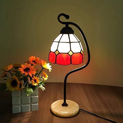 Lámpara de mesa mediterránea de cristal teñido, lámpara de estudio de arte cálido como regalo de cumpleaños para hombres y mujeres-J