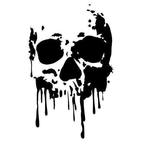 EROSPA® Aufkleber/Sticker KFZ Auto Motorrad - Skelett Knochen Schädel Kopf - Car-Sticker (Silber)
