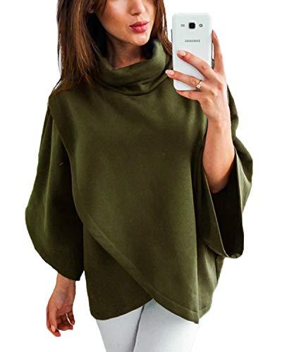 YOINS Damen Pullover Oberteil Poncho Winter Warm Asymmetrische für Damen Pulli Cardigan Sweatshirt Rollkragenpullover Langarm Grün M