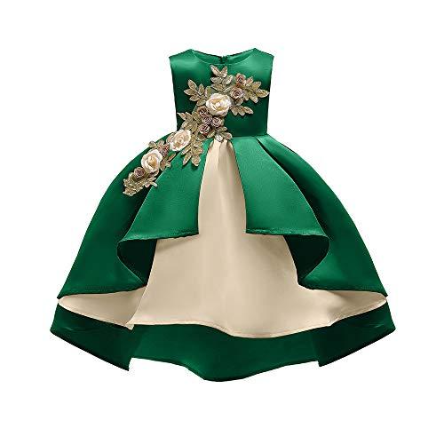 Livoral Mädchen Schönheit Kleid Blume Baby Prinzessin Brautjungfer Kleid Geburtstagsfeier Hochzeitskleid(Grün,150)