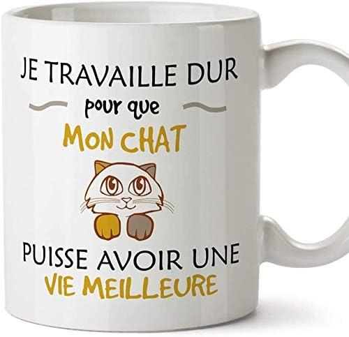 Mugffins mug Tasses de Petit déjeuner Originales - Je Travaille Dur pour Que Mon Chat puisse Avoir Une Vie Meilleure ...