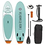 Stand-Up Paddle-Board 'I need vitamin sea' oder 'My private beach' | Inkl. Tragetasche, Reparatur-Kit & Luftpumpe, mit praktischem Tragegriff | Premium Qualität (300 cm 'I NEED VITAMIN SEA')