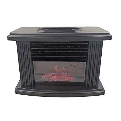 Euopat Fireplace,1000W Mini Electric Fireplace Stove,Portable Tabletop Indoor Space Heater With Log Burner Flame Effect,Freestanding Fireplace Electric Fires/Stove Heater