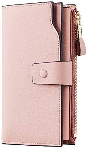 Travelambo Womens RFID Blocking Large Capacity Luxury Waxed Genuine Leather Clutch Wallet Multi Card Organizer (ReNapa Pink Lotus)