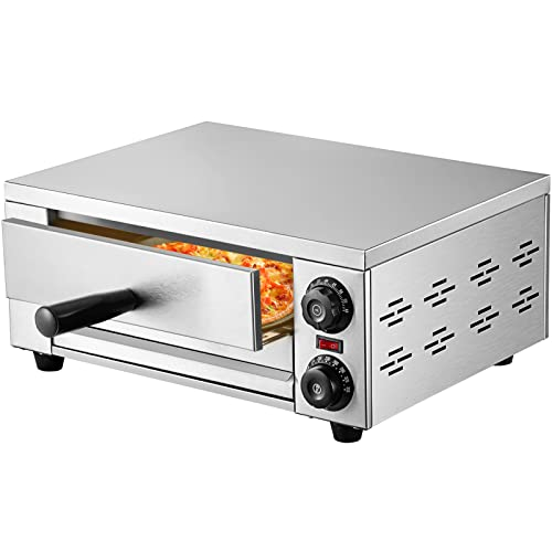 """VEVOR Electric Pizza Oven, 12"""" Countertop Pizza Oven, Stainless Steel Commercial Pizza Oven with Handle & Removable Pizza Tray, Pizza Cooker Countertop 18.9"""" x 15.4"""" x 7.3"""" for Kitchen, Commercial Use"""