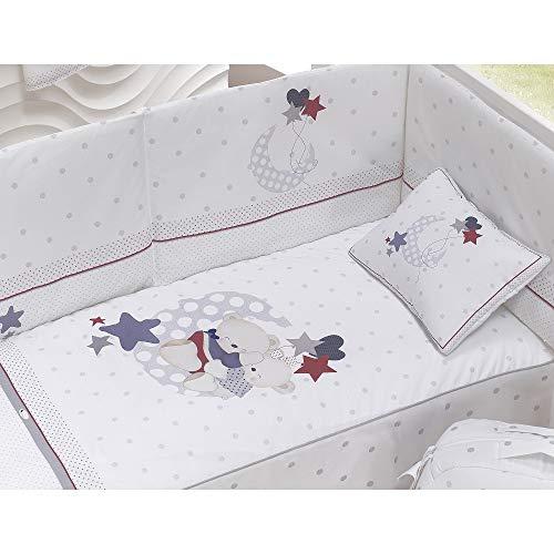 Interbaby Set 3 Pièces pour Lit Bébé Edredon + Tour de Lit + Oreiller Jersey Modèle Amorosos Gris 3 Unités 6 x 120 cm