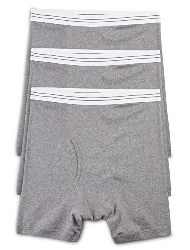 Harbor Bay by DXL Big and Tall Knit Boxer Briefs, Grey XL, Pack of 3
