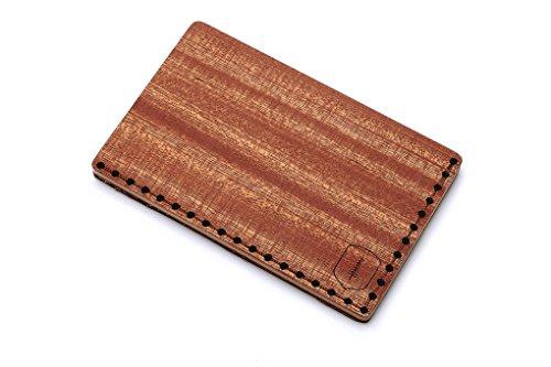 Tarjetero de piel y madera Red Note – tarjetero de cuero para hombre – tarjetero para 25 tarjetas de visita y para 7 tarjetas de credito – tarjetero rigido y duro – tarjetero marrón