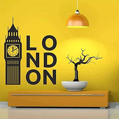 Calcomanías de reloj de Londres británico decoración de dormitorio pegatinas de pared de vinilo decoración del hogar calcomanías de sala de estar-53x68cm
