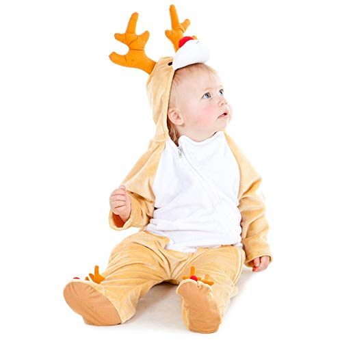 Little Rudolph Christmas Onesie, Toddler Dress Up, 6-12 Months, High Quality, Fancy Dress Christmas Onesies for Girls & Boy Babies, Unisex, My First Christmas Outfit by Pretend to Bee