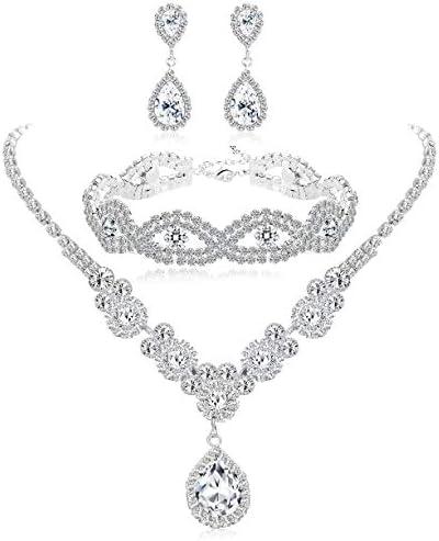 Subiceto Bridal Austrian Rhinestone Crystal Bridal Necklace Link Bracelet Teardrop Dangle Earrings product image