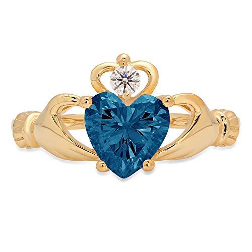1.52ct Heart Cut Irish Celtic Claddagh Solitaire Natural London Blue Topaz Gem Stone VVS1 Designer Modern Statement Ring 14k Yellow Gold, Size 10.25 Clara Pucci