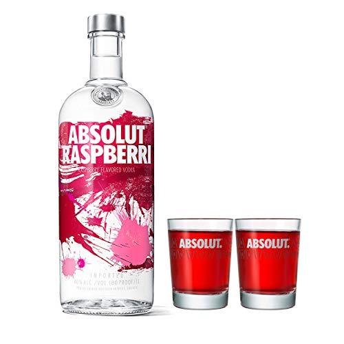 Absolut Vodka Raspberri Set mit 2 Shot Gläsern, Wodka Himbeere, Schnaps, Spirituose, Alkohol, Flasche, 40 %, 1 L