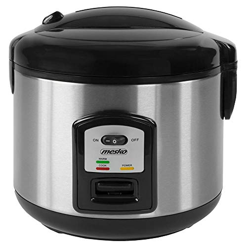 Bakaji Elektrischer Reiskocher Dampfgarer mit Kochschale & abnehmbarem Topf, antihaftbeschichtet, Fassungsvermögen 1,5 l für Risotti & Sushi 2 Funktionen zum Kochen & Heizen