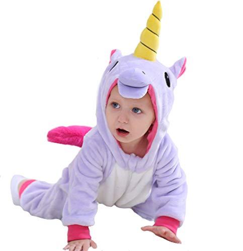 Doladola Baby Jungen Mädchen Flanell Tier Hooded Unicorn Onesies (Lila, Größe 110 (Alter 24-30 Monate))