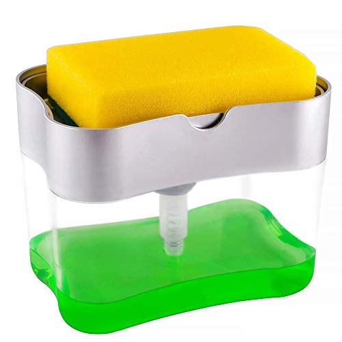 Nicejoy Soap Dispenser Sponge Holder Caddy 2 in 1 Press Dishwashing Pump Storage Container Kitchen Bathroom Washroom