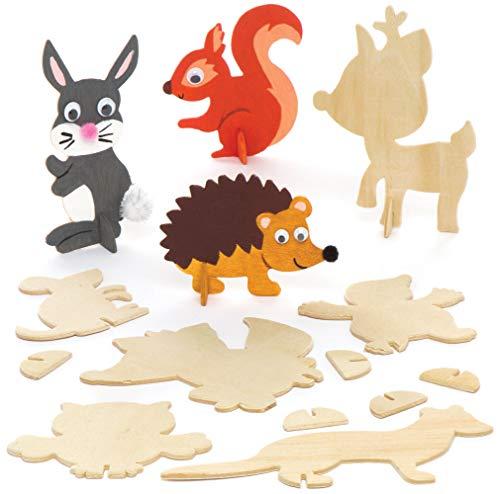 Baker Ross Figuras de animales del bosque de madera (pack de 10)...