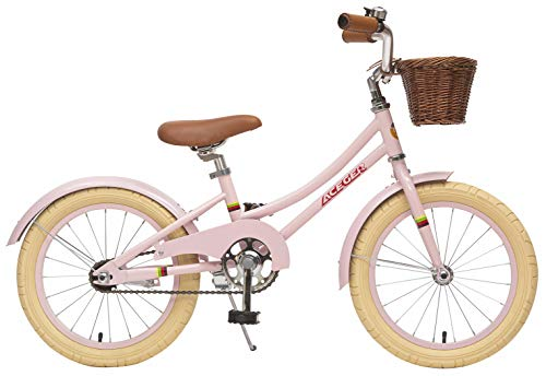 ACEGER Girls Bike with Basket for Kids, 14 inch with Training Wheels, 16 inch with Training Wheels and Kickstand, 20 inch with Kickstand. (Light Purple, 16 inch)
