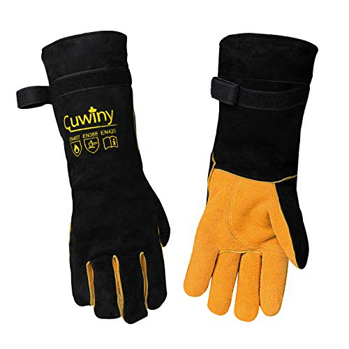 Welding Gloves, Cuwiny 1112°F Heat/Fire Resistant/Leather Forge Gloves, with Kevlar Stitching String, 16 inches Extra Long Sleeve and Fireproof Hook and Loop Tape,fit for Mig/Tig
