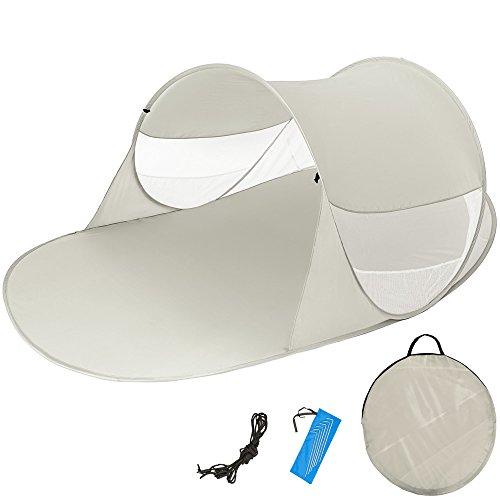 TecTake Pop Up Strandmuschel Wurfzelt 245x145x95 cm mit UV Schutz - Diverse Farben - (Grau | Nr. 401677)
