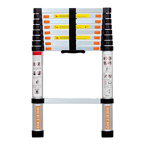 BEETRO 8.5ft Aluminum Telescoping Ladder, Extension Folding Ladder, Multipurpose Ladder for Roofing Business, Outdoor Working, Household Use and More, 330 LB Capacity