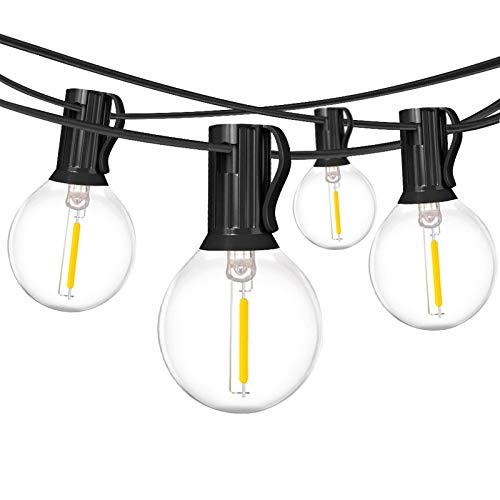 18Ft Outdoor Patio String Lights,UL Listed Commercial Light String with 10+1 Plastic G40 LED Clear Globe Bulbs,Decoration for Patio Backyard Cafe Porch Garden Bistro Party Wedding