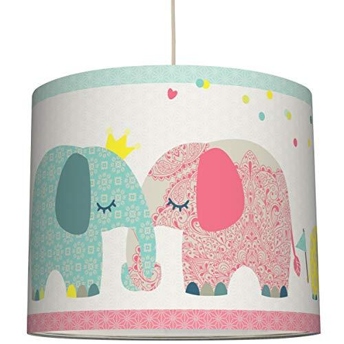 Anna Wand Hängelampe Family Elephant – Lampenschirm für Kinder/Baby Lampe mit Elefanten – Sanftes Kinderzimmer Licht Mädchen & Junge – ø 40 x 34 cm