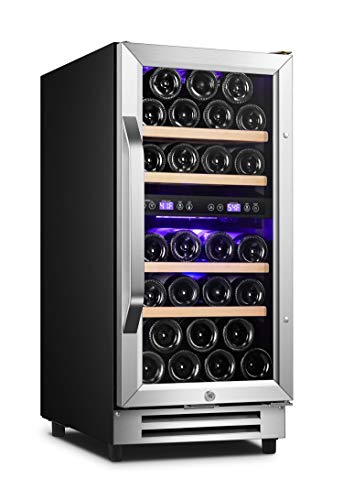 Karcassin 15 inch Wine Cooler 28 Bottles Dual Zone Under Counter or Freestanding Wine Fridge, Fast Cooling, Low Noise, Reversible Stainless Steel Glass Door, Touch Temperature Control with Memory Function