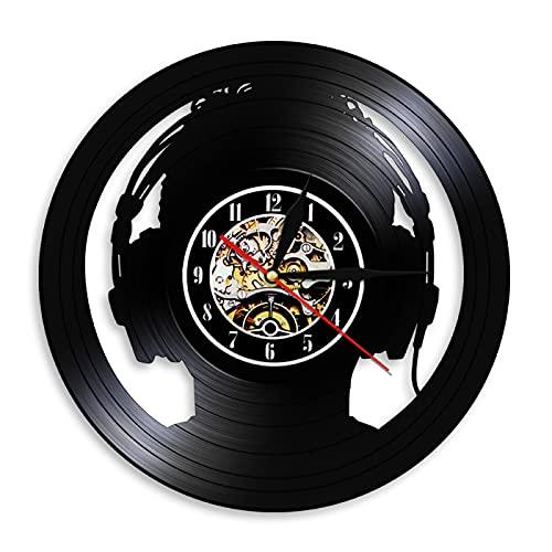 LIMN Reloj de Pared Auriculares esclavos DJ Reloj de Pared Decorativo Amante de la música Reloj de Pared con Disco de Vinilo Aquellos Que no Pueden Vivir sin música