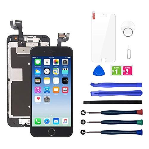 LWMTT LCD Display Ersatz Bildschirm für iPhone 6S schwarz Reparatur Touchscreen Bildschirm Werkzeug mit Home Button,Hörmuschel, Frontkamera, Werkzeuge