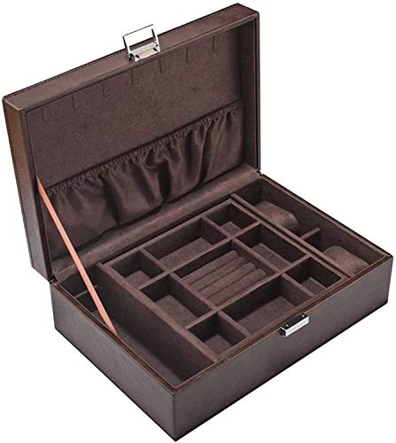 MQJ Caja de Alenamiento de Joyas Cuero de Pu Caja de Joyería de Doble Joyería de Cuero Joyería Pulsera Colección de Alenamiento Caja de Recolección Caja de Visualización Portátil,a
