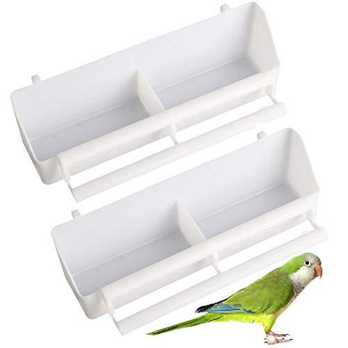 2 Stück Futternapf Wasser Napf Vögel Futterspender Vogelfutterbox Käfig Napf Hängenäpfe Vogelhäuschen Kunststoff Lange Wasser Platz Getränkehalter Futternapf Käfig Zubehör Für Vögel Papageien Weiß