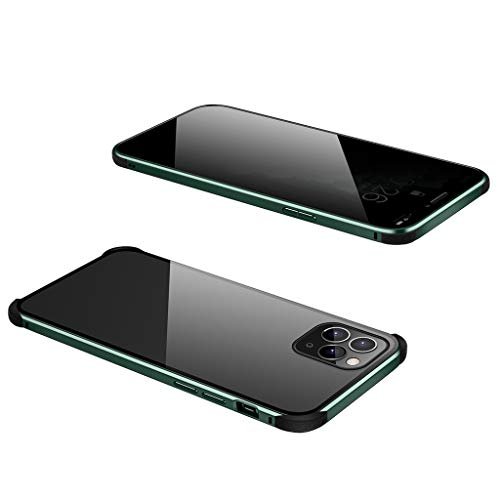 ErYao Case for iPhone 11 Pro Anti-peep Magnetic Adsorption Case, Double Sided Privacy Screen Protector with Metal Bumper, Anti-Spy Clear Shock Drop Proof Impact Case for iPhone 11 Pro (Army Green)