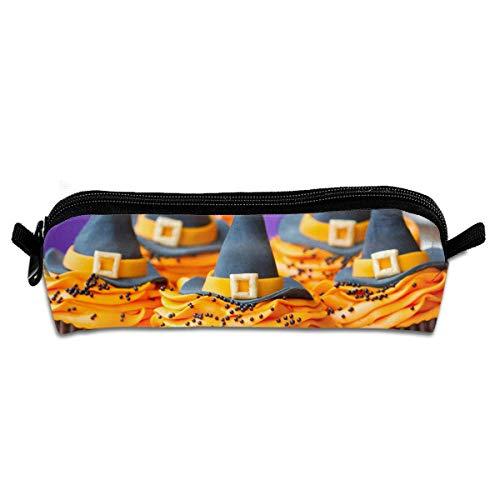 Makeup Brush Bag,Cupcakes Helloween Hexenhüte Desserts Gebäck Creme Premium Canvas Bleistiftbeutelhalter, Leichte Kosmetiktaschen Für Die Hochzeit,20.5x7.7x7.7cm