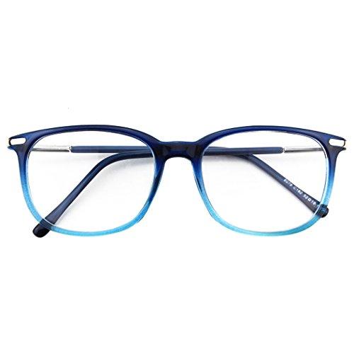 CGID CN79 Klassische Nerdbrille ellipse 40er 50er Jahre Pantobrille Vintage Look clear lens, Blau, 52