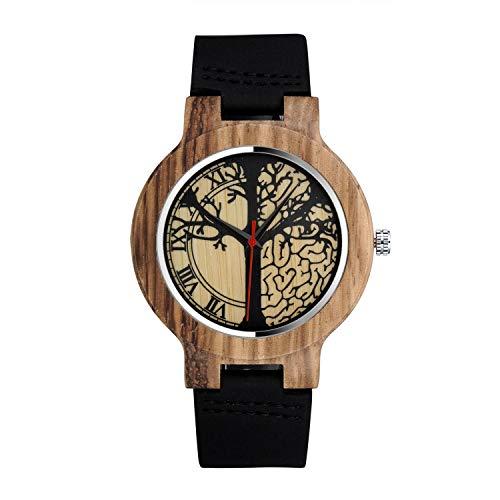 MICGIGI Orologio da polso al quarzo, da uomo/donna, motivo albero zebrato, in legno di bambù, con cinturino in pelle